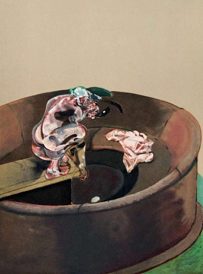 Francis Bacon Portrait of George Dyer Crouching Lithograph, 1966: Lithograph based after the 1966 painting of the same title. Original 1960s litho from the portfolio: Derriere Le Miroir.  Medium: Lithograph in colors on wove paper.  Dimensions: 11 x
