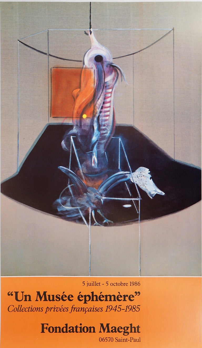 (after) Francis Bacon Figurative Print - Meat Carcass and Bird of Prey - Vintage Poster
