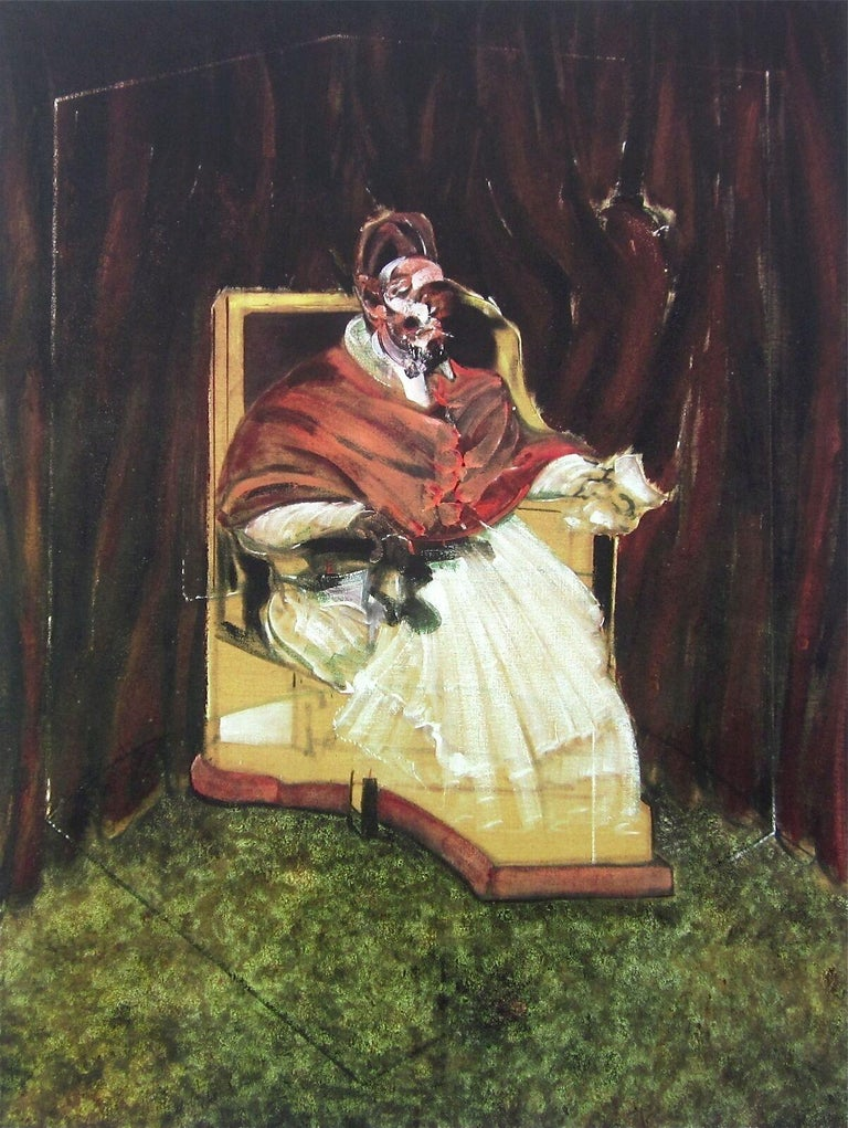 (after) Francis Bacon Figurative Print - Portrait Pope Innocent X, Limited Edition Foundation Maeght Offset Lithograph