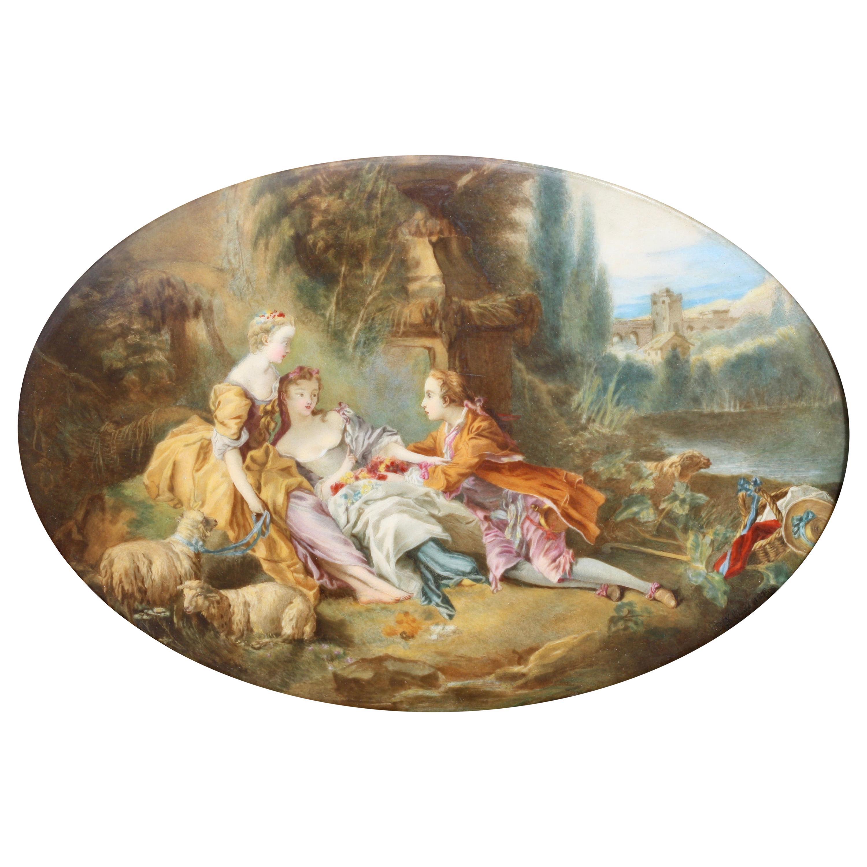 After François Boucher a French Oval Porcelain Plaque