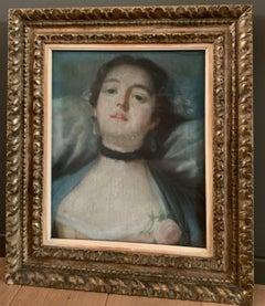 "French 18th century rococo pastel portrait ""La voluptueuse """