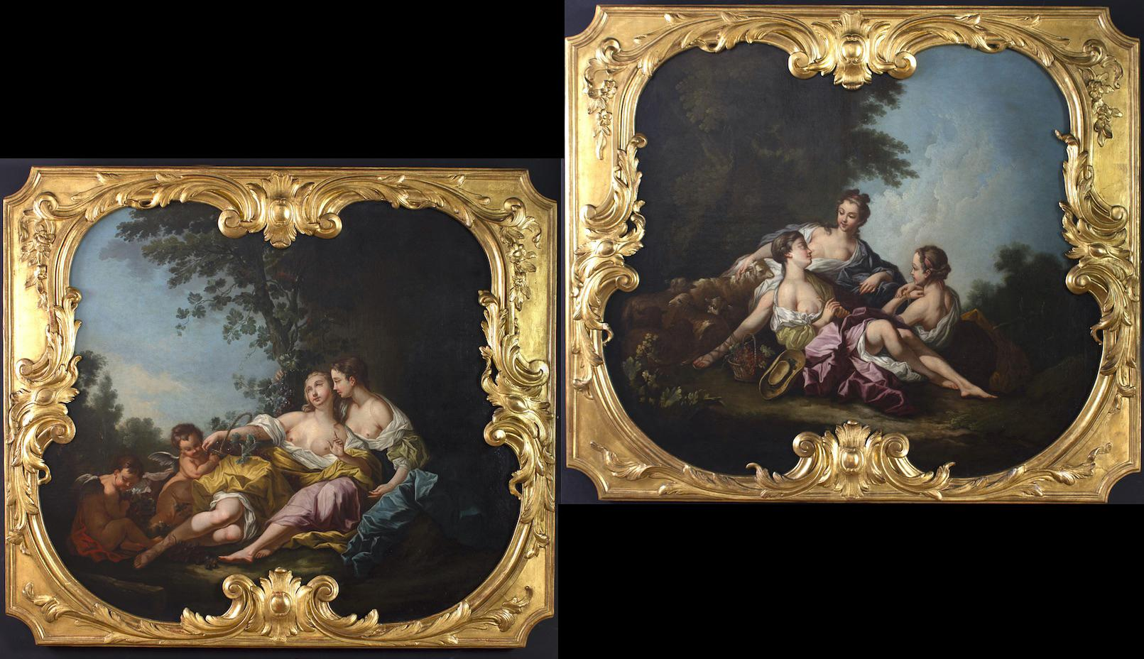 Pair of Large 18' Century French Oil Paintings after Francois Boucher