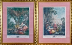 Pair of 18th C. Hand Colored Romantic French Engravings after Francios Boucher