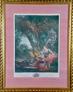 A Pair of Hand Colored Romantic French Engravings after Francios Boucher