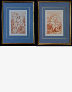 A Pair of Romantic Etchings of Women with Cherubs by Pequegnot after Boucher