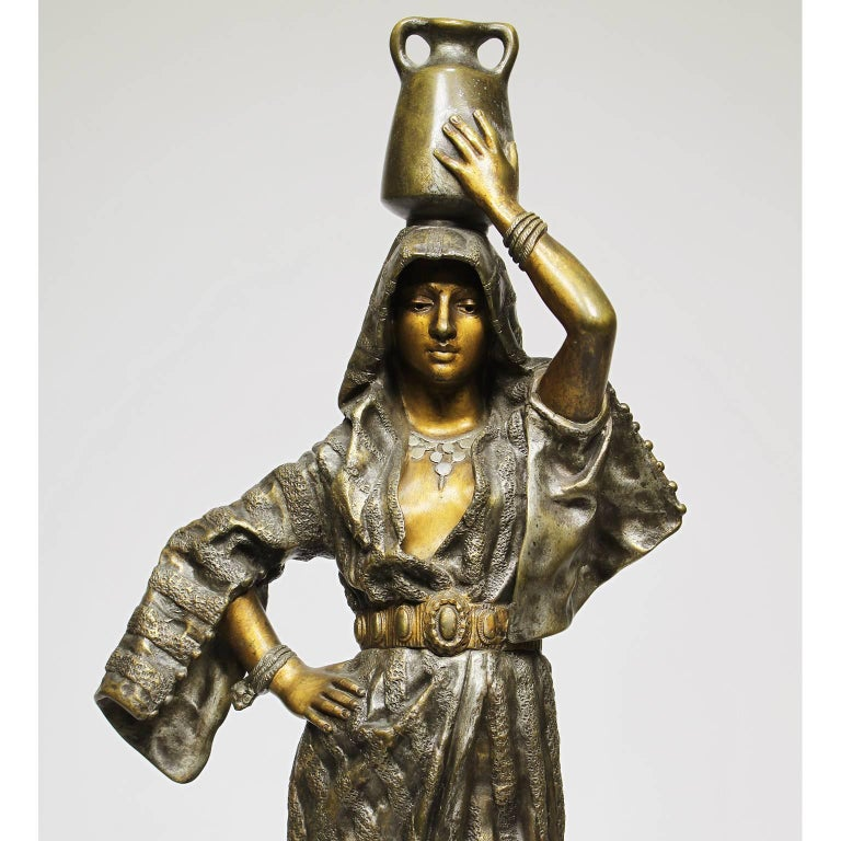 A fine French 19th-20th century orientalist silvered and gilt patinated bronze sculpture of