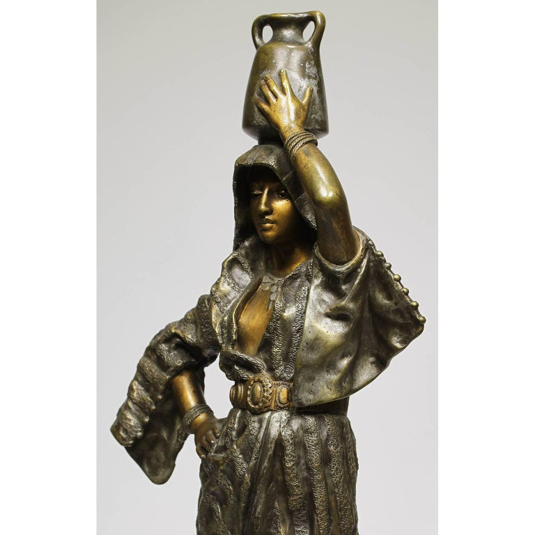 After Gaston Leroux French 19th Century Bronze Sculpture of Rebecca In Excellent Condition For Sale In Los Angeles, CA