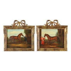 After George Stubbs (1724 - 1806) A Pair Of Horse Equestrian Paintings in Frames