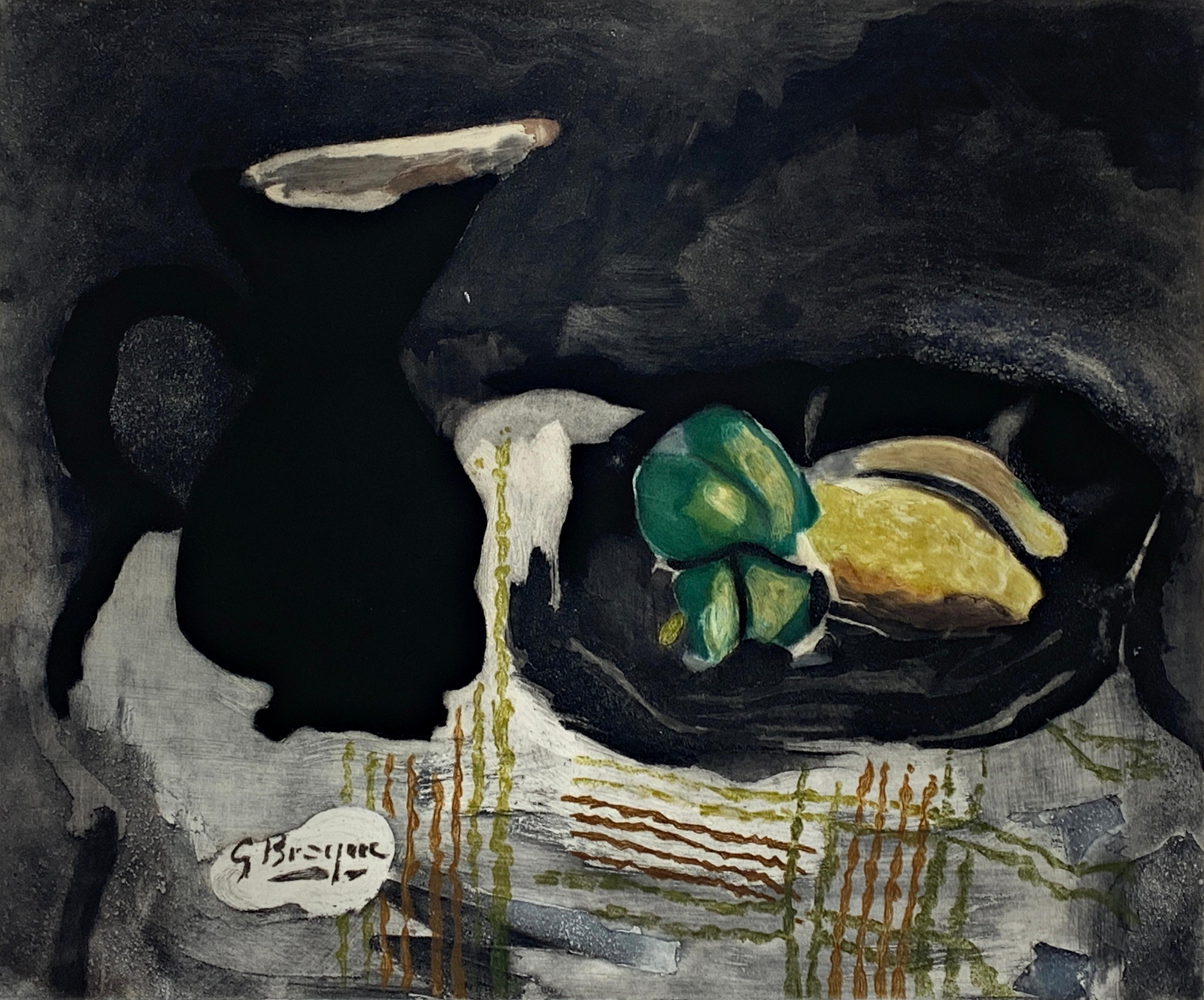 20th Century Impressionist Georges Braque Pichet noir et citron Color Etching
