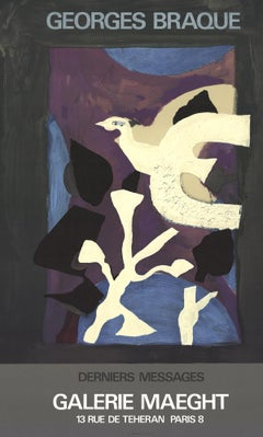 "Georges Braque-Affiche #102-27.5"" x 16.75""-Lithograph-1967-Cubism-Purple, White"