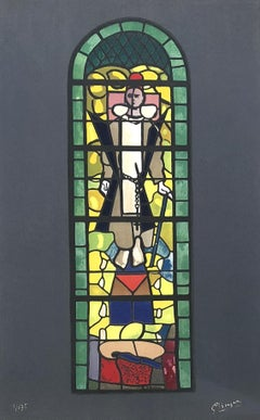 Lithograph after Stained glass window at Church of Saint Dominique, Varengeville