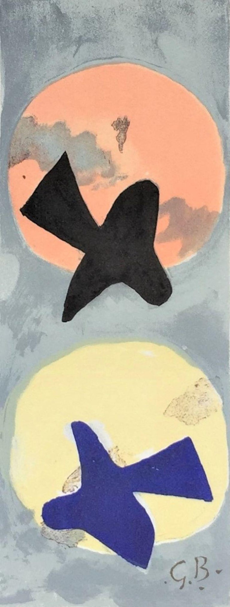 (after) Georges Braque Abstract Print - Soleil et lune II (Sun and Moon II)