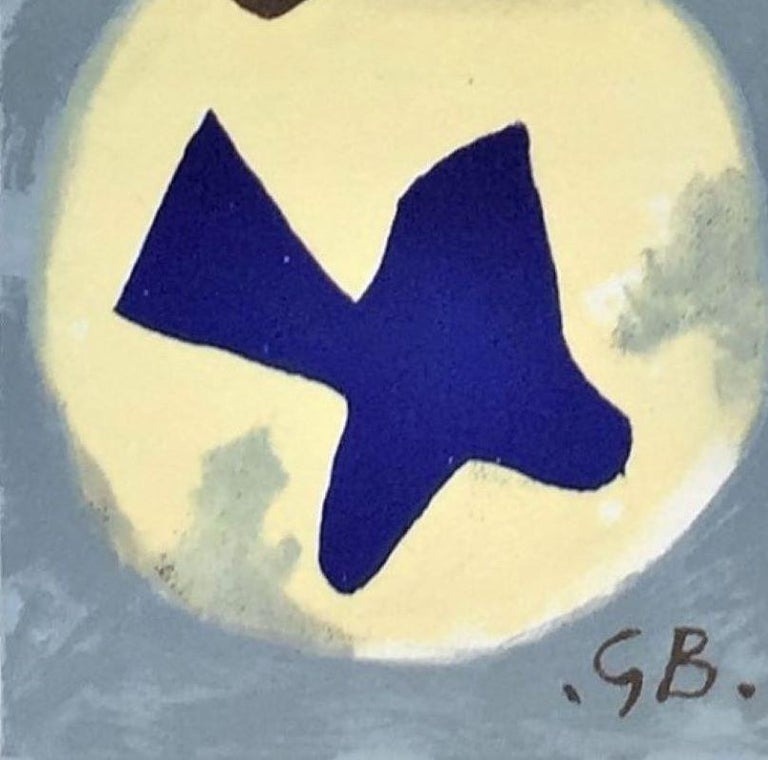 Soleil Et Lune. 1959. Original lithograph printed in color. 8 1/2x 3 11/16 (sheet 15 x 10 7/8).  Vallier, Dora. Braque. The Complete Graphics, London 1988, p. 294, No. 1034.   Vallier, Dora. Braque. The Complete Graphics, London 1988, p. 294, No.