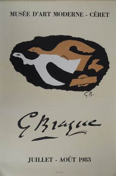 Two Birds Flying - Vintage lithograph exhibition poster # Mourlot