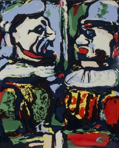 """Two Clowns"" porcelain enamel on steel after c. 1930 painting by George Rouault"