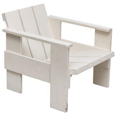 After Gerrit Rietveld Mid-Century Modern White Wood Crate Chair, circa 1950