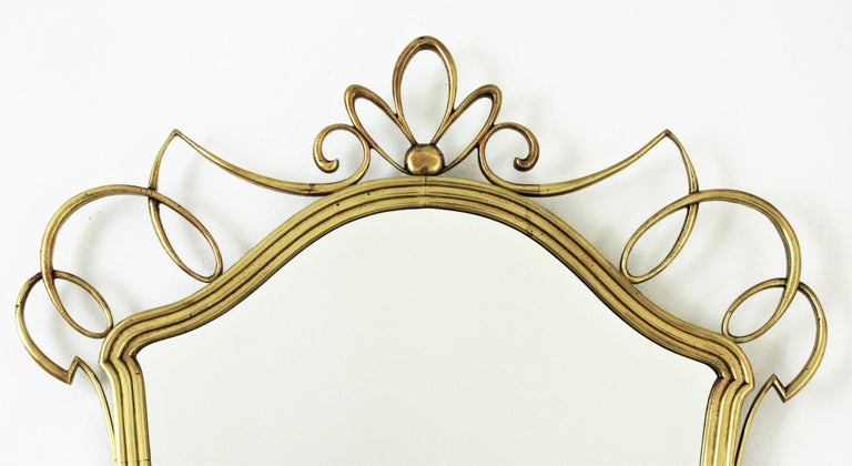 Mid-Century Modern After Gio Ponti Italian Modernist Brass Mirror, 1950s For Sale
