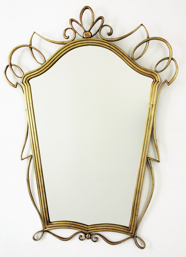 Polished After Gio Ponti Italian Modernist Brass Mirror, 1950s For Sale