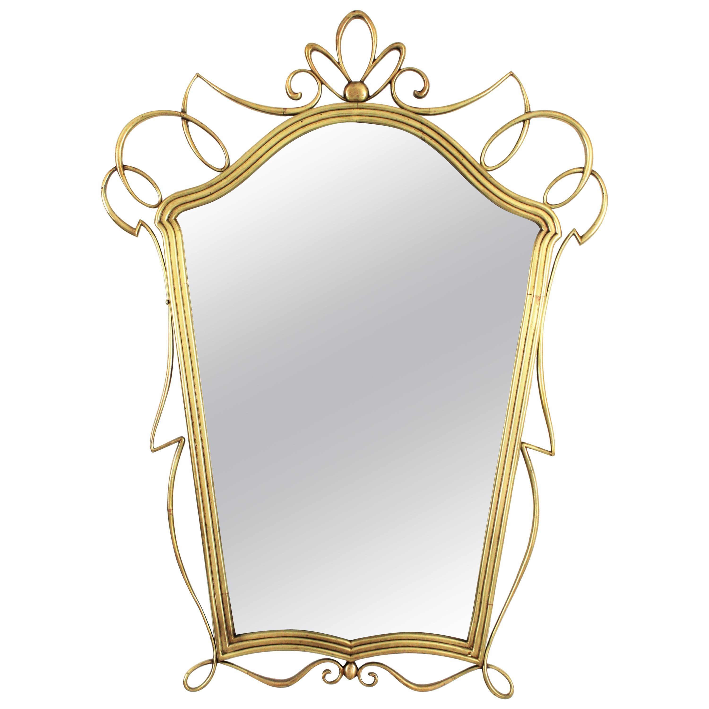 After Gio Ponti Italian Modernist Brass Mirror, 1950s