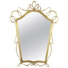 After Gio Ponti Italian Modernist Brass Mirror, 1950s