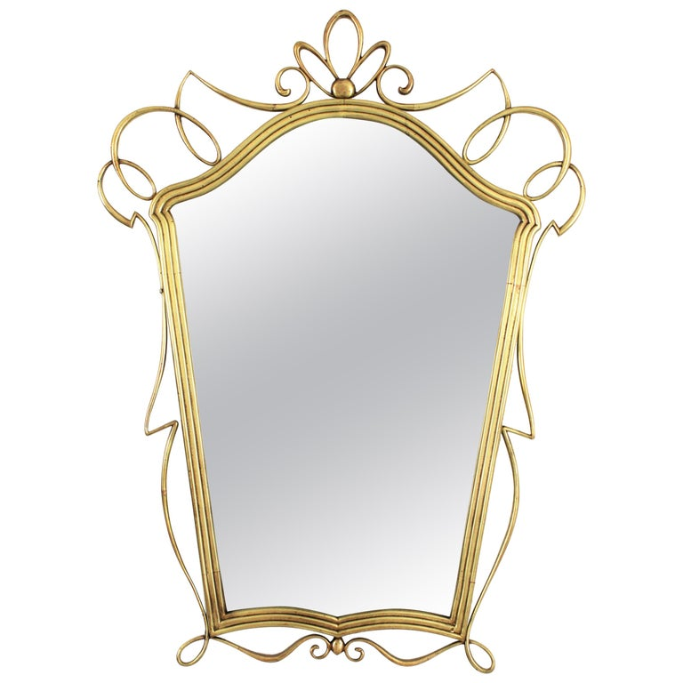 After Gio Ponti Italian Modernist Brass Mirror, 1950s For Sale