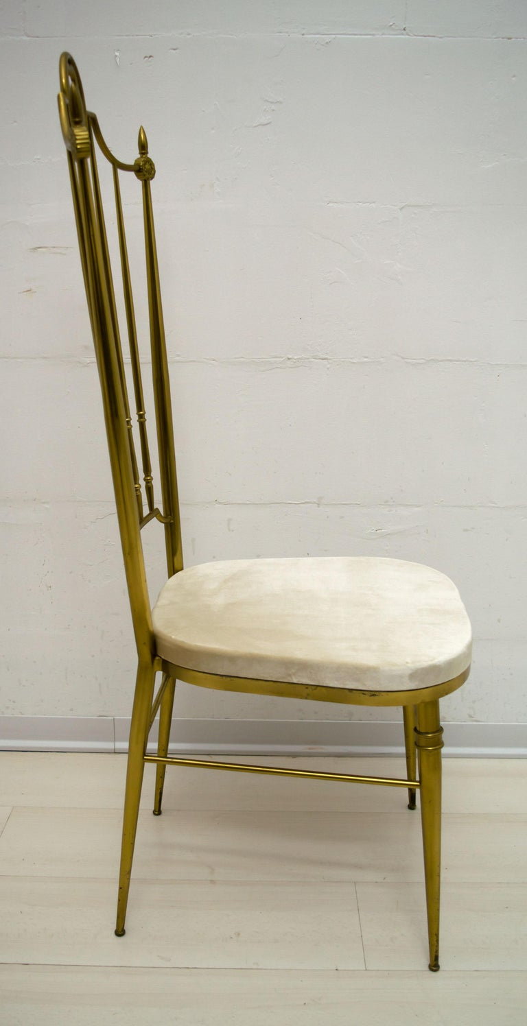 After Gio Ponti Mid-Century Modern Italian Brass High Back Chairs, 1950s For Sale 7