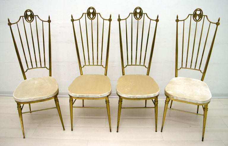 Four chairs with high back, Italian midcentury design in the Gio Ponti style.