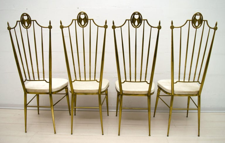 After Gio Ponti Mid-Century Modern Italian Brass High Back Chairs, 1950s In Good Condition For Sale In Cerignola, Italy Puglia