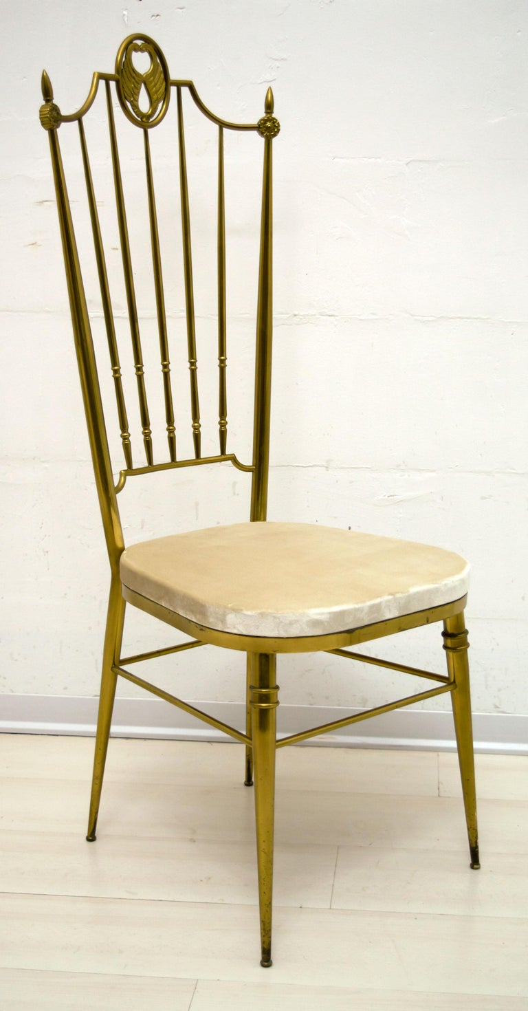 Mid-20th Century After Gio Ponti Mid-Century Modern Italian Brass High Back Chairs, 1950s For Sale