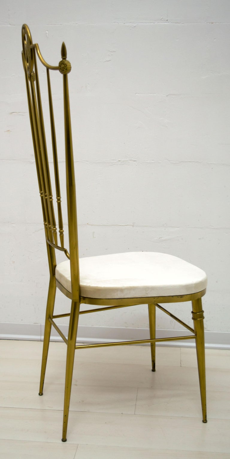 After Gio Ponti Mid-Century Modern Italian Brass High Back Chairs, 1950s For Sale 1