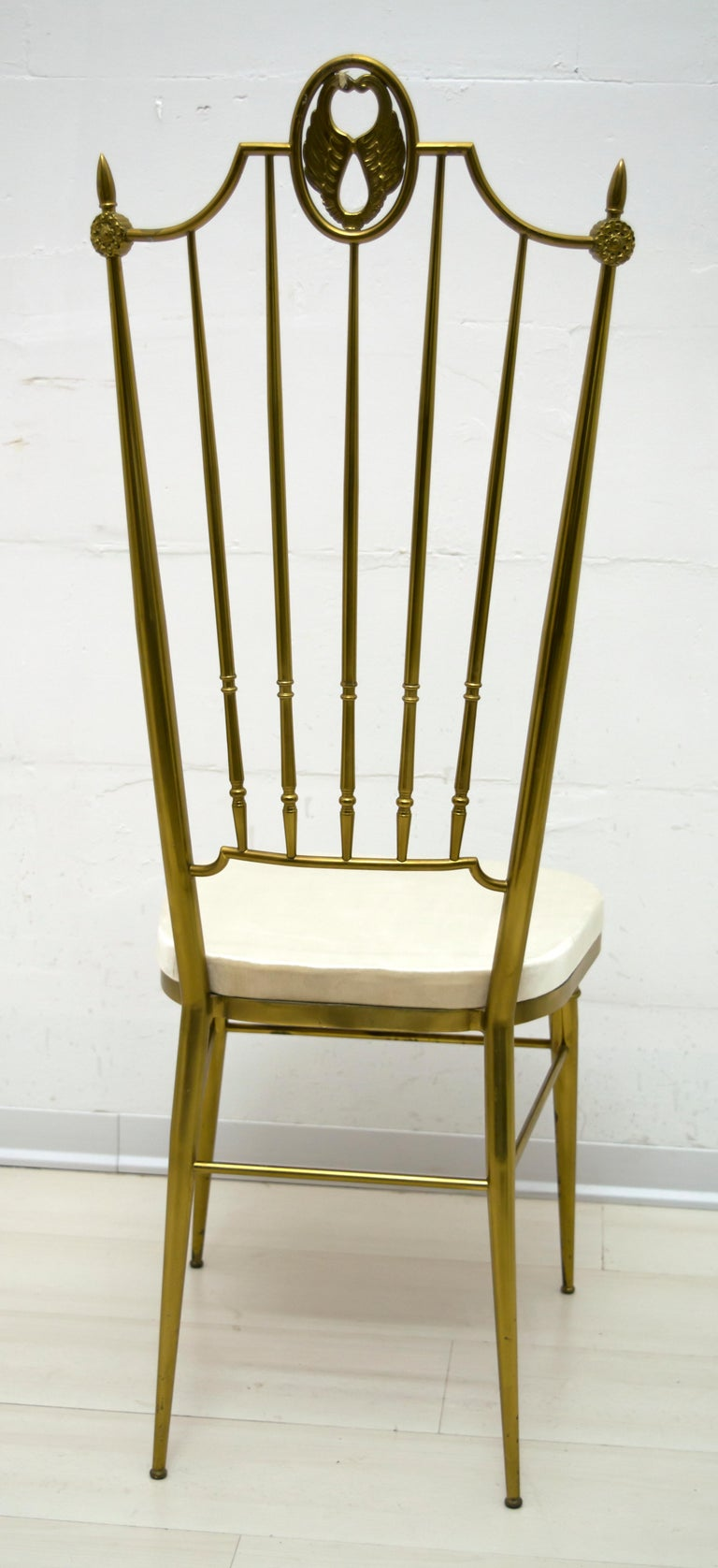 After Gio Ponti Mid-Century Modern Italian Brass High Back Chairs, 1950s For Sale 2