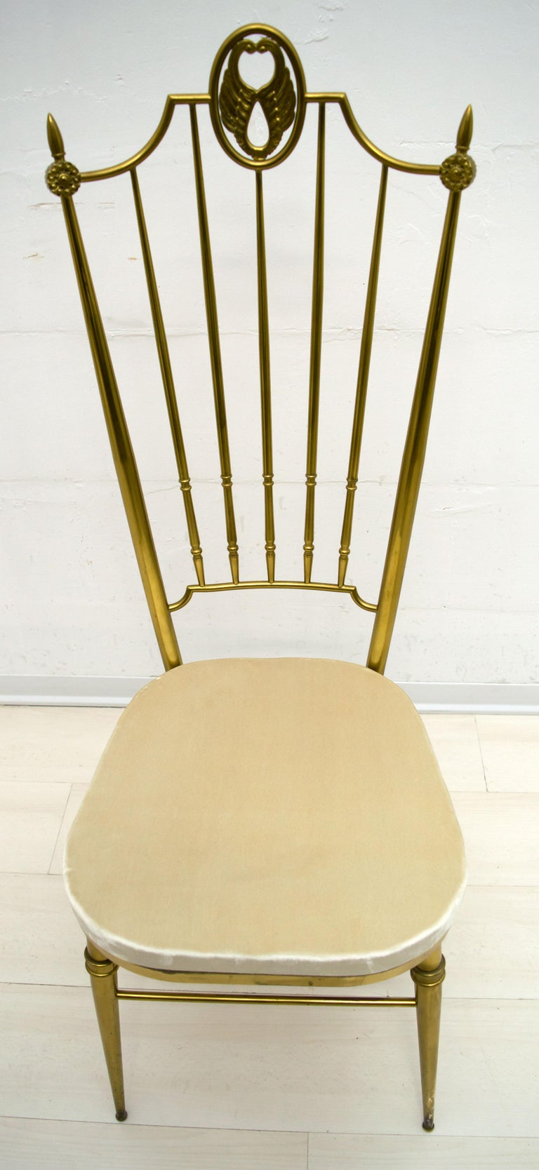 After Gio Ponti Mid-Century Modern Italian Brass High Back Chairs, 1950s For Sale 4