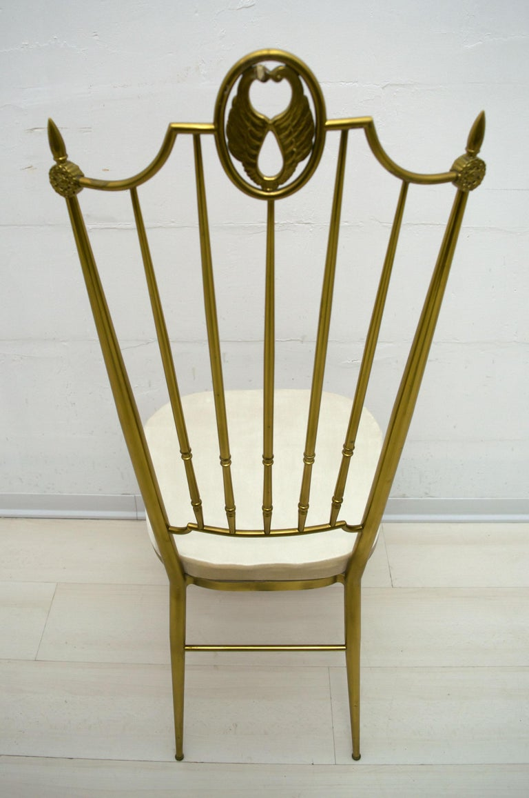 After Gio Ponti Mid-Century Modern Italian Brass High Back Chairs, 1950s For Sale 5