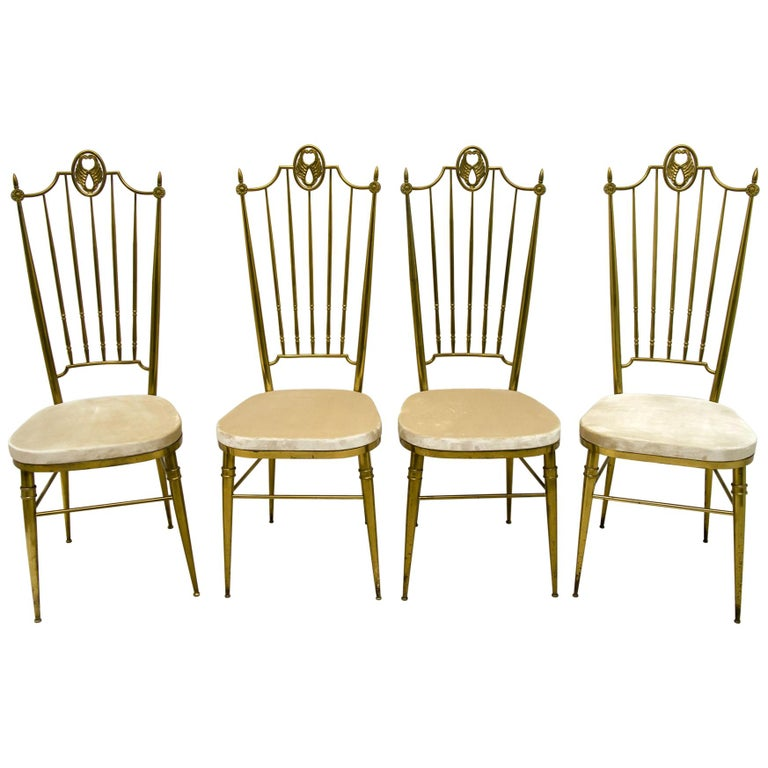 After Gio Ponti Mid-Century Modern Italian Brass High Back Chairs, 1950s For Sale