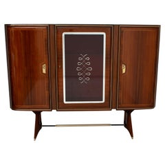 After Gio Ponti Mid-Century Modern Italian Mahogany and Brass Bar Cabinet, 1950s