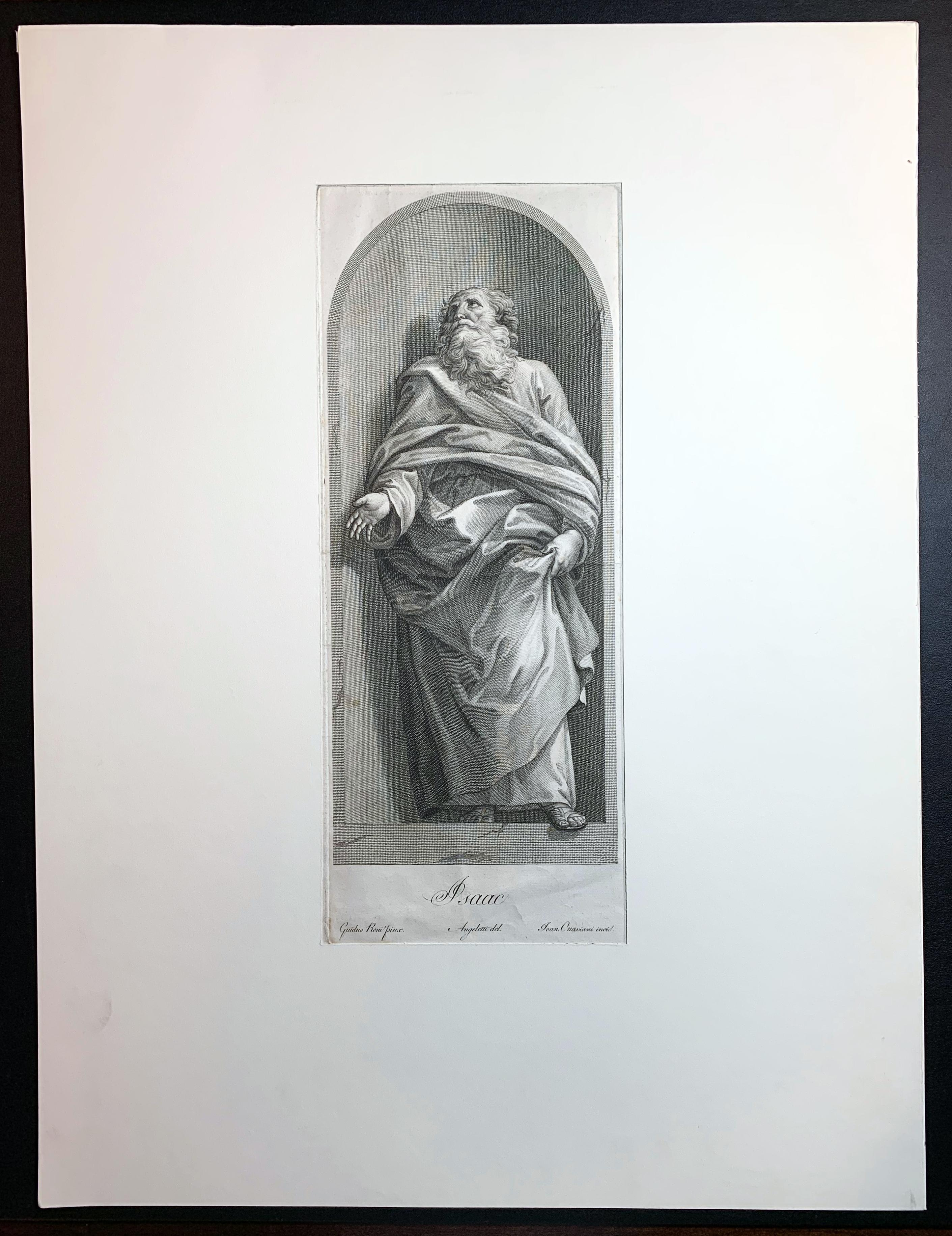 """18th C. Engraving """"ISAAC"""" After Guido Reni by Carlo and Giovanni Ottaviani"""