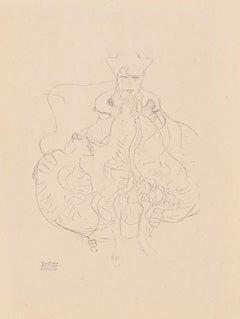 Seated woman, Gustav Klimt Handzeichnungen (Sketch) collotype lithograph, 1922