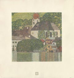 "Max Eisler Eine Nachlese folio ""Church on Lake Wolfgang"" collotype print"