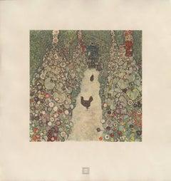 """Max Eisler Eine Nachlese folio """"Garden Path with Chickens"""" collotype print"""