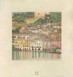 """Max Eisler Eine Nachlese folio """"Malcesine on Lake Garda"""" collotype print"""