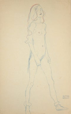 Nude of a Young Girl - Original Collotype Print After g. Klimt - 1919