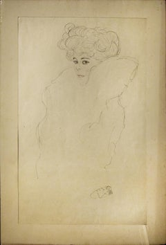 Portrait Sketch: Woman With Boa - 1910s - vintage collagraph after Gustav Klimt