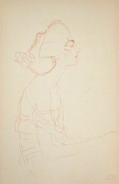 Study of a Bust (Red pencil)  - Original Collotype Print after G. Klimt - 1919