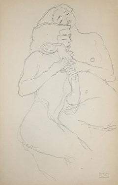 Two Embracing Seated Female Nudes - Original Collotype After G. Klimt - 1919