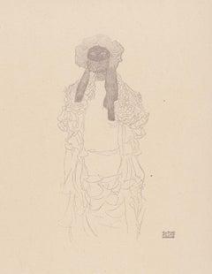 Woman in scarf, Gustav Klimt Handzeichnungen (Sketch), Thyrsos Verlag, 1922