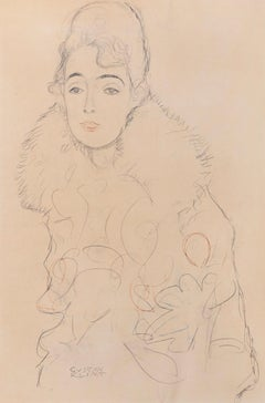 Woman wearing fur collar in three-quarter profile (Plate 23) by Gustav Klimt