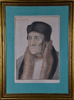 Holbein Hand-colored Portrait of Warham, Archbishop of Canterbury for Henry VIII