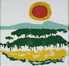 """Red & Yellow Sun With Textured Yellow Field,"" after Helen Frankenthaler"