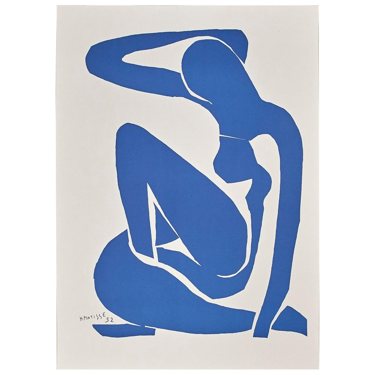 Modern After Henri Matisse Cut Out Blue Lithograph Nu Bleu I For Sale