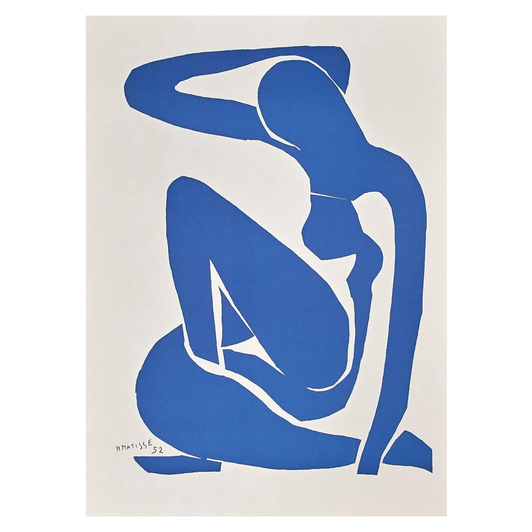 After Henri Matisse Cut Out Blue Lithograph Nu Bleu I For Sale
